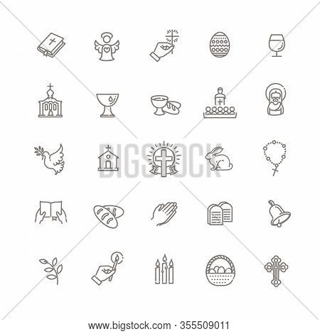 Christianity Flat Line Icon Set. Religion Related Icons