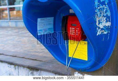 Telephone Box With Telephone.telephone Box With Telephone