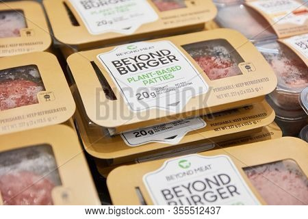 COLOGNE, OCTOBER 2019: Beyond Burger from Beyond Meat at the ANUGA Food trade fair