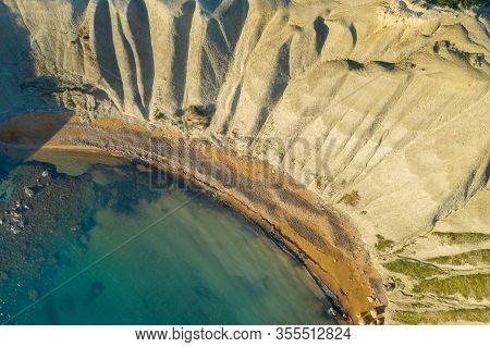 Aerial View Of Nature Landscape Of Ghajn Tuffieha Bay.malta Island
