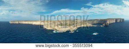 Aerial View Of Sea Tunnel Near Azure Window. Dwejra Is A Lagoon Of Seawater On The Gozo Island.malta