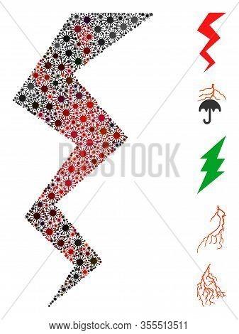 Coronavirus Mosaic Zigzag Strike Icon. Mosaic Vector Is Formed With Zigzag Strike Icon And With Rand