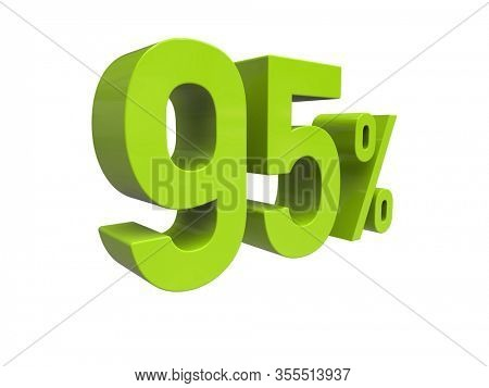 3d Render: ISOLATED Green 95% Percent Discount 3d Sign on White Background, Special Offer 95% Discount Tag, Sale Up to 95 Percent Off, Ninety-five Percent Letters Sale Symbol, Special Offer Label