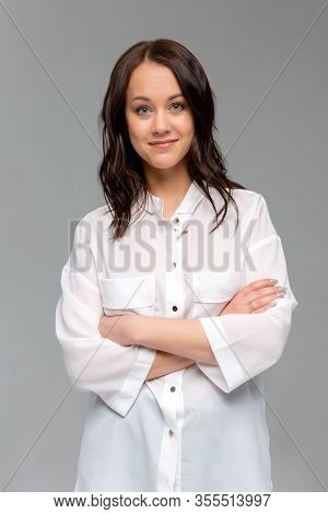 Cheerful Young New Attractive Female Employee Ready Help Energized Look Upbeat Confident Camera Cros
