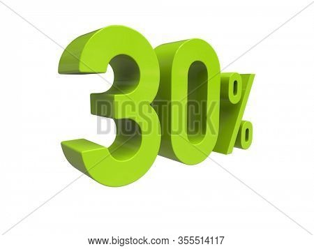 3d Render: ISOLATED 30% Percent Discount 3d Sign on WHITE Background, Special Offer 30% Discount Tag, Sale Up to 30 Percent Off, Thirty Percent Letters Sale Symbol, Special Offer Label