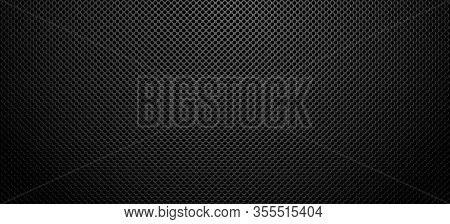 Black Metal Surface Vector Realistic Background, Dark Metalic Texture Backdrop.