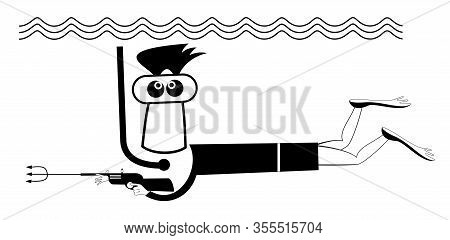 Spear Fishing Diver Holds An Underwater Gun Illustration. Funny Man In Diving Mask Dives With Spear