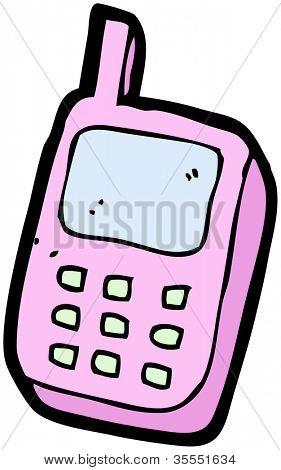 pink mobile phone cartoon