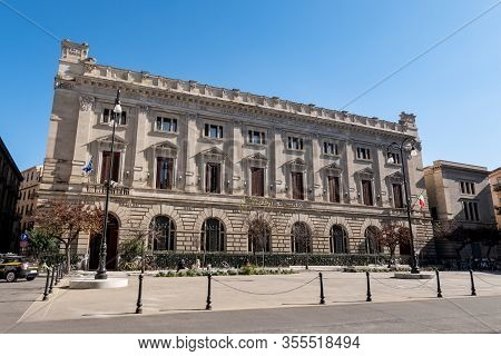 Palermo, Sicily - February 8, 2020: The Grand Hotel Piazza Borsa Building Providing Luxury Accommoda