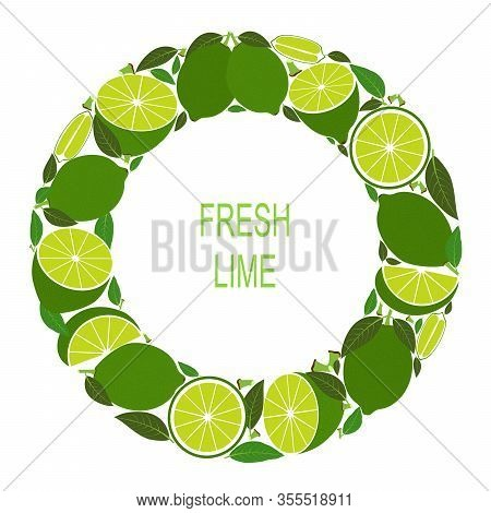 Wreath With Lime. Vector Illustration With Fresh Limes In Circle. Vector Flat Design Suitable From T