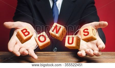 Cubes Thrown By A Man Make Word Bonus. Receive Bonuses, Rewards And Preferences. A Nice Addition. Sa