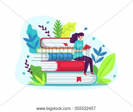 Vector Illustration Of Girl Sitting On Pile Of Book With Open Book In Her Hands. Young Student Woman