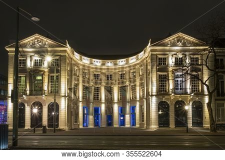 The Hague - January 18 2019: The Hague, The Netherlands. Royal Theater In The Hague At Dusk, Long Ex