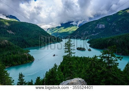 Looking Down Over Diablo Lake On Cloudy Day In Washington Mountains