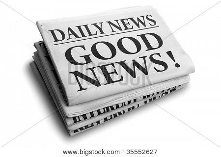 Daily news newspaper headline reading good news