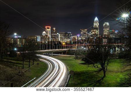 In Downtown Of Charlotte North Carolina Skyline