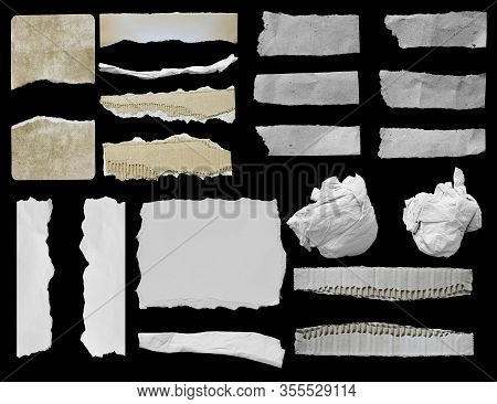 Pieces Of Torn Paper Texture Background, Copy Space.