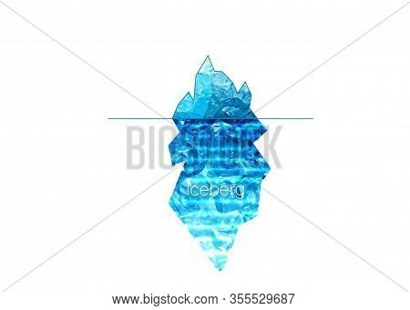 Iceberg Vector Logo Isolated On White Background. Ice Berg Realistic Vector Icon, Blue Artic Clip Ar