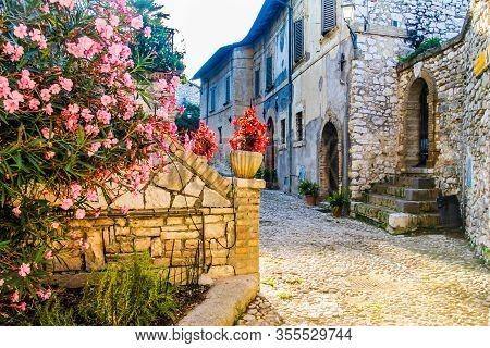Narrow Street In Labro, Rieti, Lazio, Italy