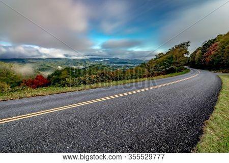 Morning Sunrise Over Blue Ridge Parkway Mountains