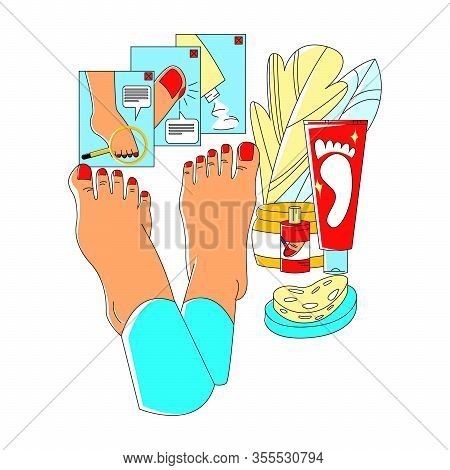 Vector Flat Illustration With Enlarged Legs, On Background Of Web Design Elements In Form Of Icons O