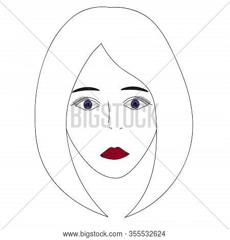 Vector Illustration Of A Girl Face With Violet Eyes. Full Face. Long Eyelashes. Black Eyebrows. Lips