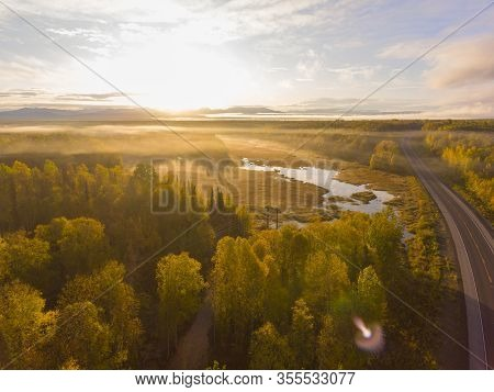 Alaska Route 3 Aka George Parks Highway And Alaska Landscape Aerial View In Fall With The Morning Su