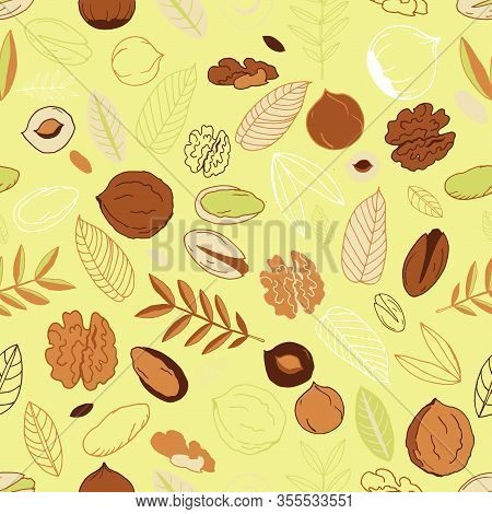 Seamless Pattern With Walnuts, Pistachios With Hazelnuts And Leaves On A Light Olive Background. Scr