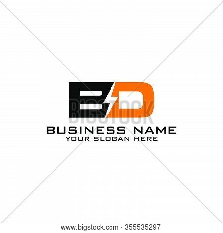 Bd Initial Logo Concept With Electric Template Vector