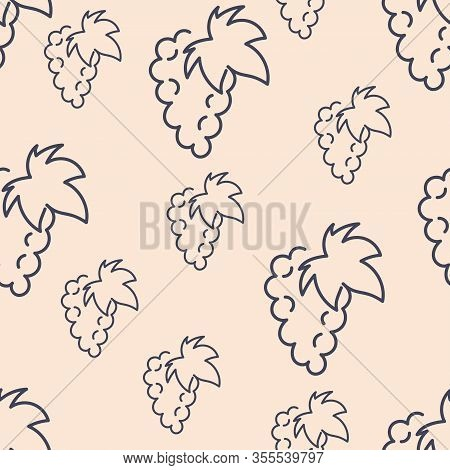 Seamless Pattern, Bunch Of Grapes , Silhouette Of Berries And Leaves. One Line Drawing. Hand-drawn V