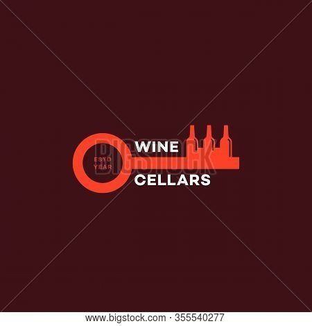 Wine Cellars Logo Design Template With Stylized Key And Bottles. Vector Illustration.