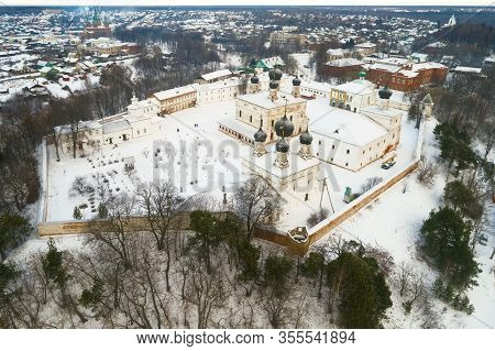 Holy Trinity Makaryevo-unzhensky Monastery Close-up On A January Cloudy Day (aerial Photography). Ma