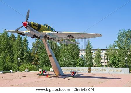 Lebyazhye, Russia-june 06, 2019: Monument To The Defenders Of The Leningrad Sky.  Soviet Il-2 Attack
