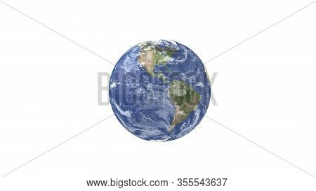 3d Render Earth Isolated On White Backdground.