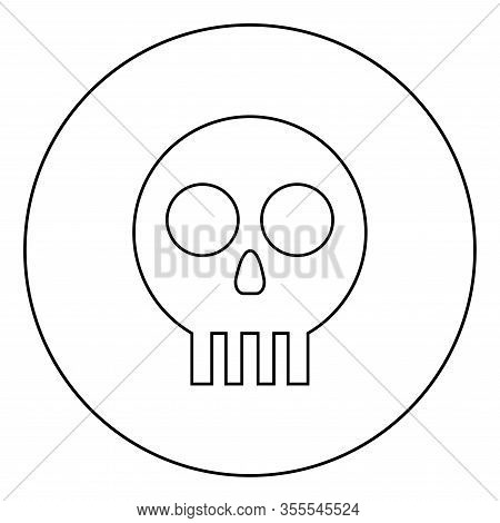 Human Skull Cranium Icon In Circle Round Outline Black Color Vector Illustration Flat Style Simple I