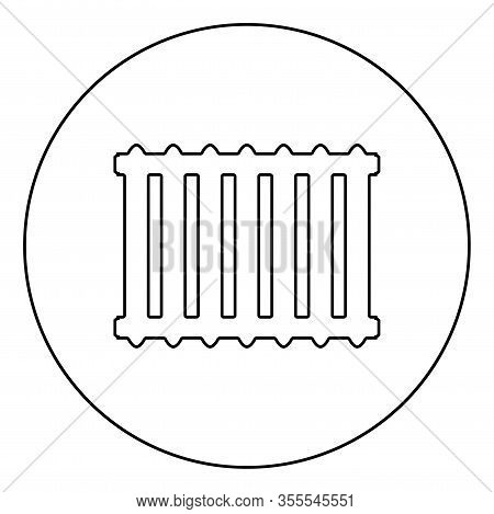 Cast Iron Battery Heating Radiator Icon In Circle Round Outline Black Color Vector Illustration Flat