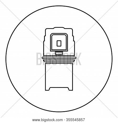 Electoral Voting Machine Electronic Evm Election Equipment Vvpat Icon In Circle Round Outline Black