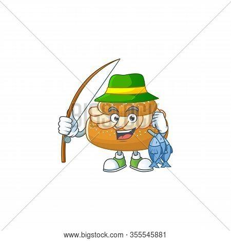 Cartoon Character Style Of Funny Fishing Semla