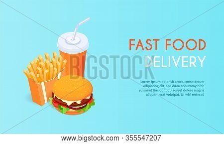 Banner For Fast Food Delivery , Hamburger And Fries