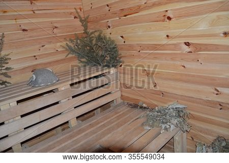 Sauna And Wood Bath For Taking Procedures In  House
