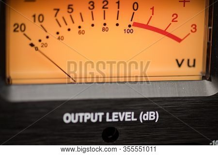 Needle And Number Values Of A Volume Level Monitor, Built Into Modern Audio Recording Equipment For