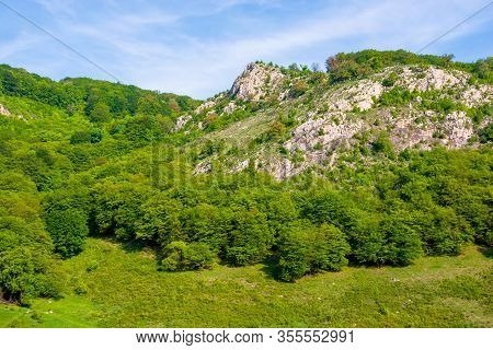 Rocky Mountains Of Romanian Countryside. Beautiful Rural Landscape Of Valea Manastirii In Alba Count