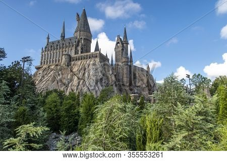 Orlando, Florida, Usa - September 06 2018: Hogwarts Castle At The Wizarding World Of Harry Potter Pa