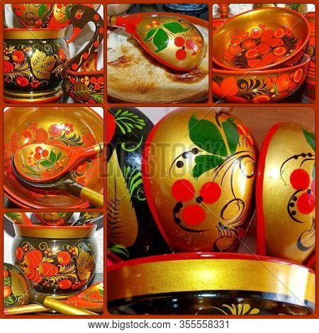Photo Collage Khokhloma Wooden Tableware. Khokhloma Is An Ancient Russian Folk Craft Of The Xvii Cen