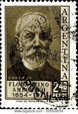 02.11.2020 Divnoe Stavropol Territory Russia The Postage Stamp Argentina 1956 Florentino Ameghino, A