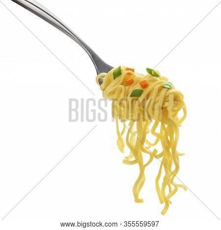 Instant Noodles With Fork Isolated On White Background