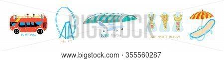 Set Of 5 Dubai Symbol Flat Style Icons - Dubai Airport, Gold Market, Big Bus, Dubai Eye And Sun Loun