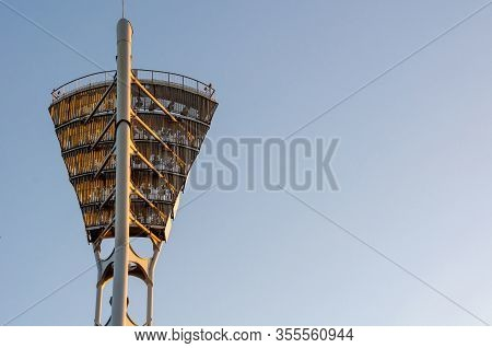 Stadium Light Equipment, Floodlight Tower, Blue Sky.