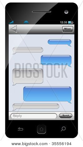 Smartphone sms chat template with balloons for your text.