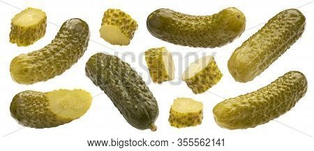 Pickled Gherkins, Marinated Cucumbers Isolated On White Background
